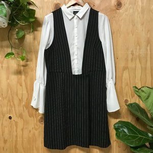 ECI Overalls Dress With White Button Up